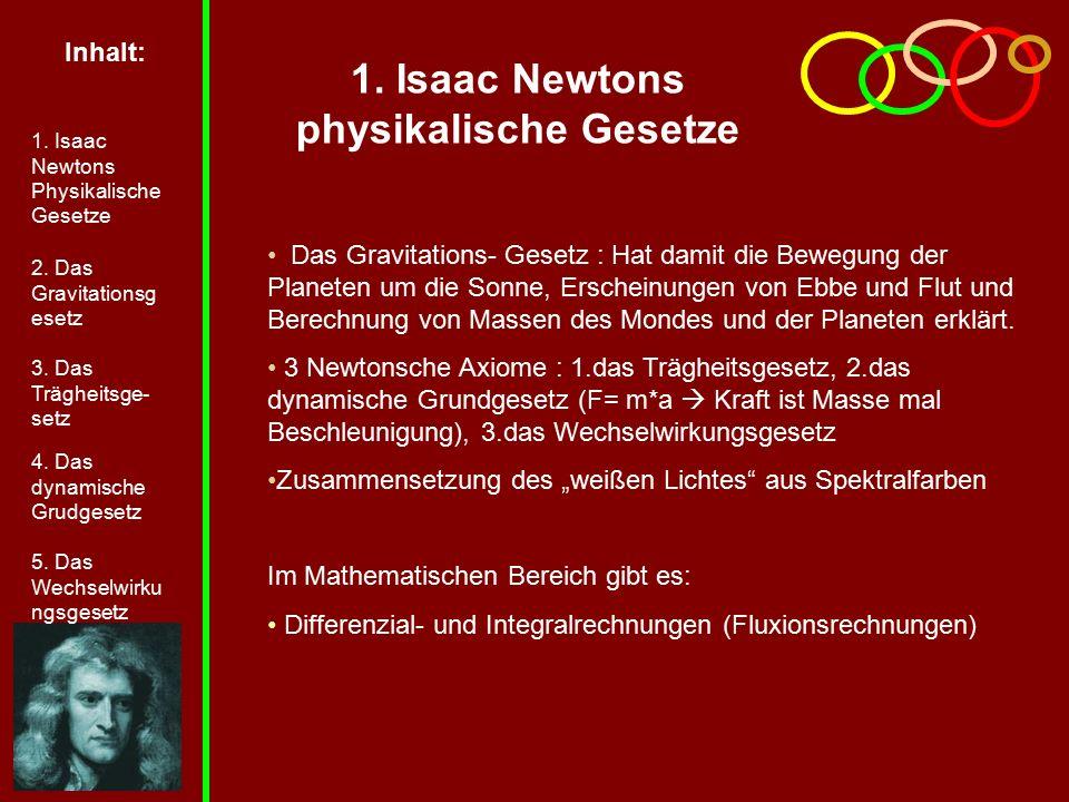 1. Isaac Newtons physikalische Gesetze