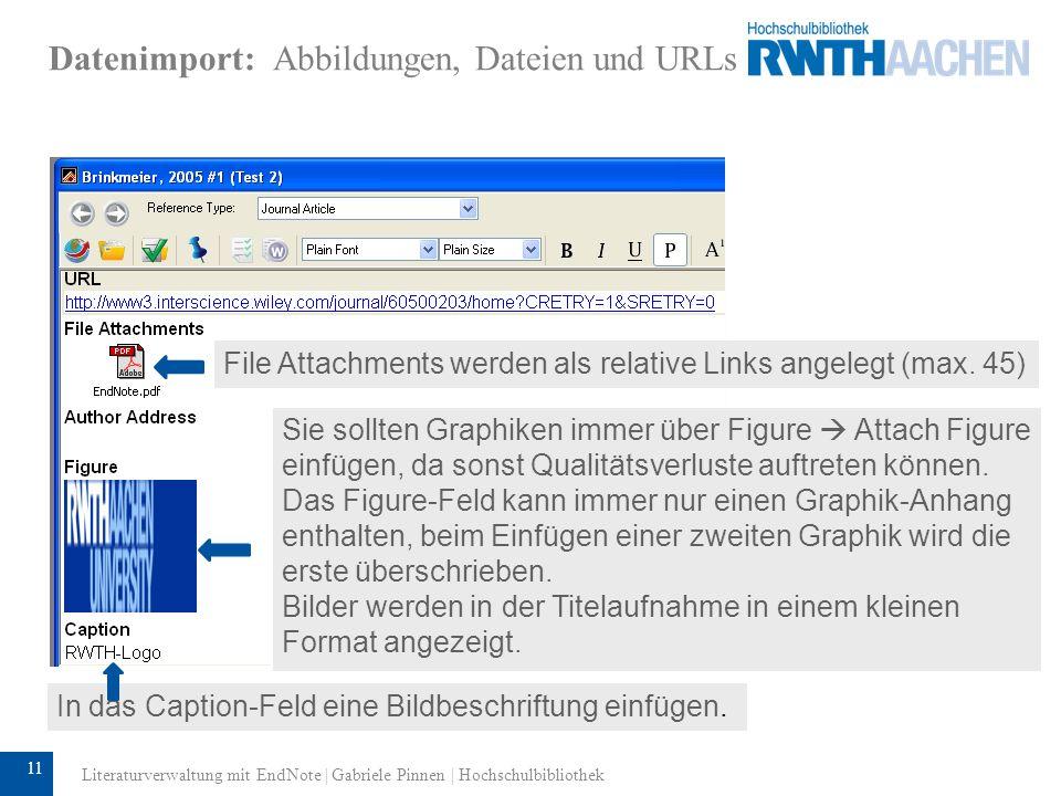 Datenimport: Abbildungen, Dateien und URLs