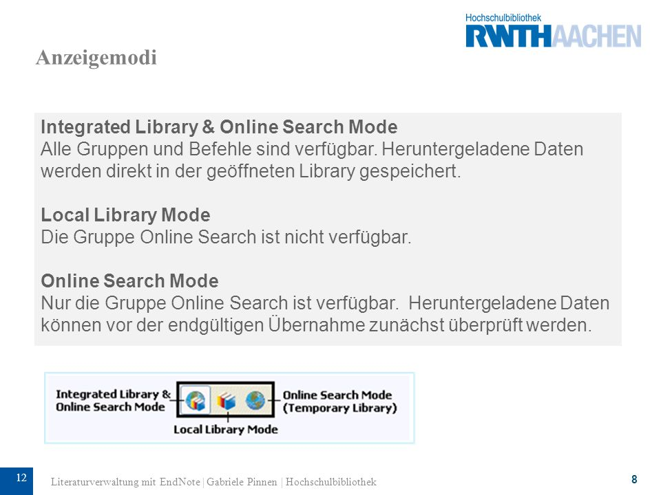 Anzeigemodi Integrated Library & Online Search Mode