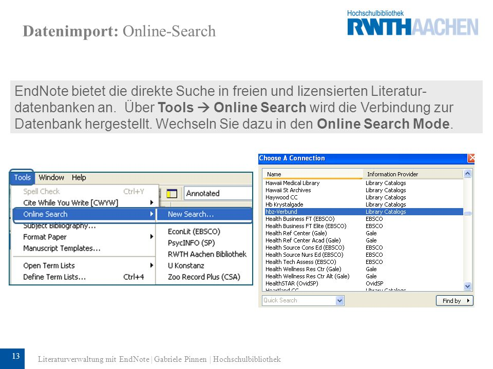 Datenimport: Online-Search