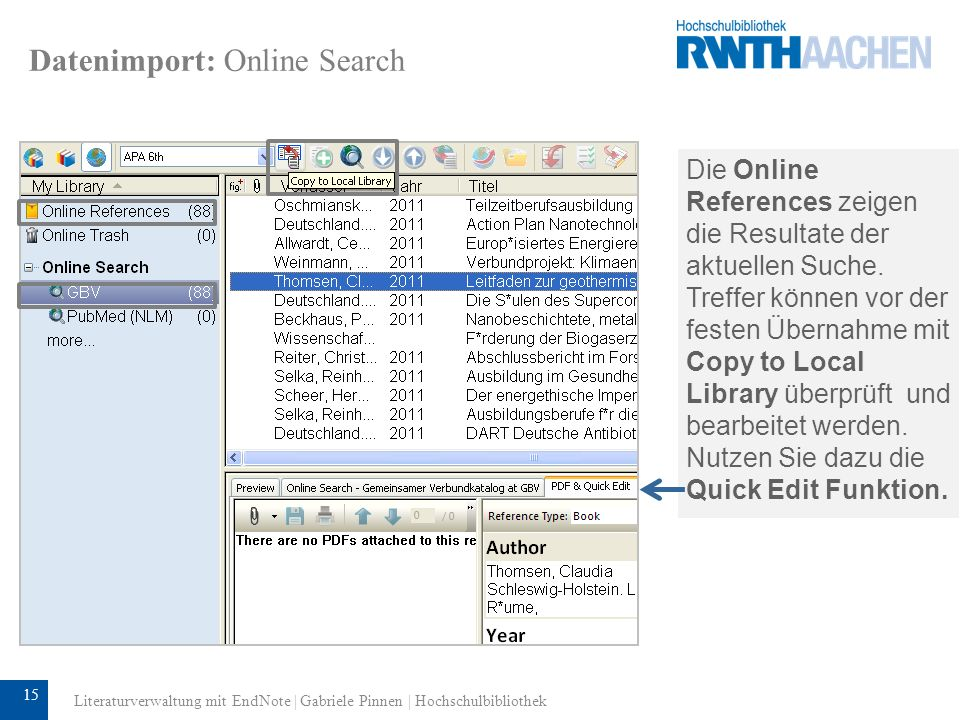 Datenimport: Online Search