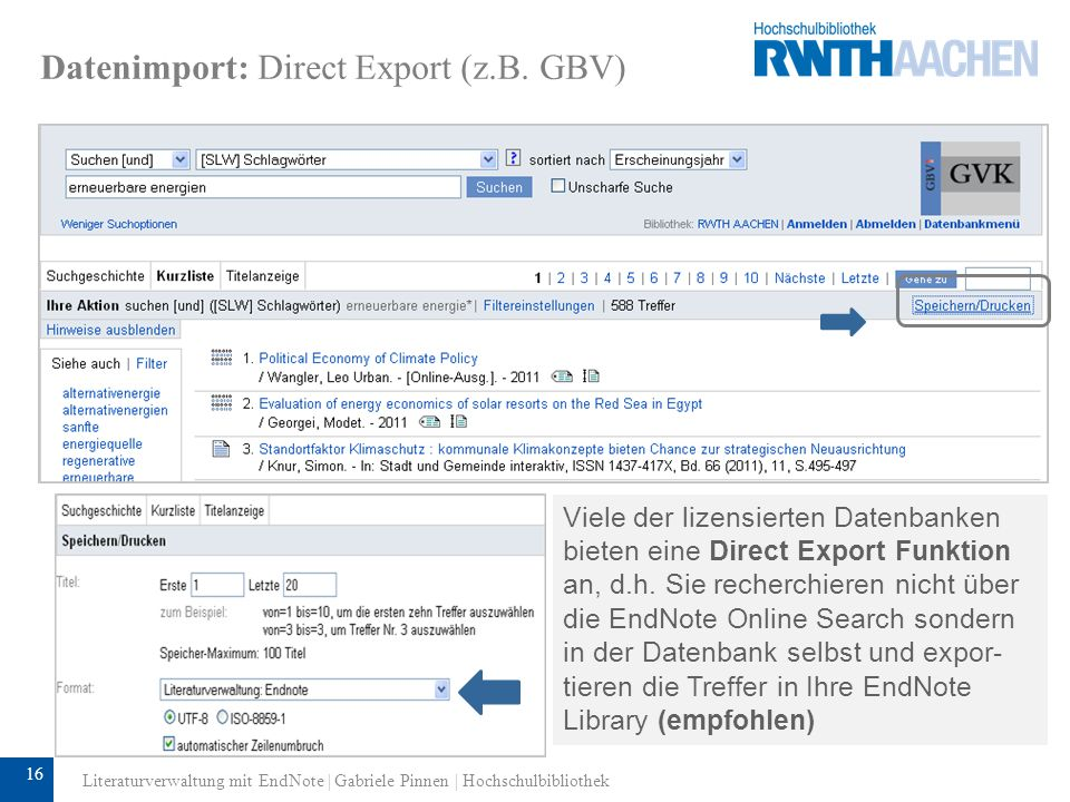Datenimport: Direct Export (z.B. GBV)