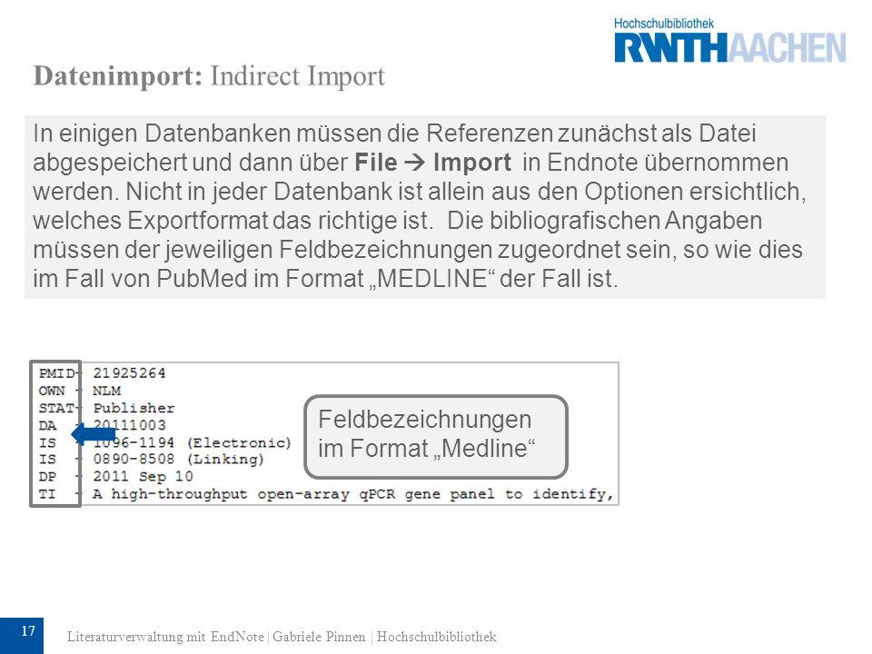 Datenimport: Indirect Import