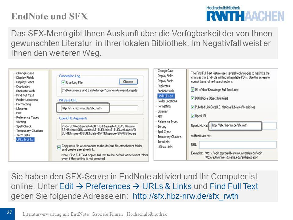 EndNote und SFX