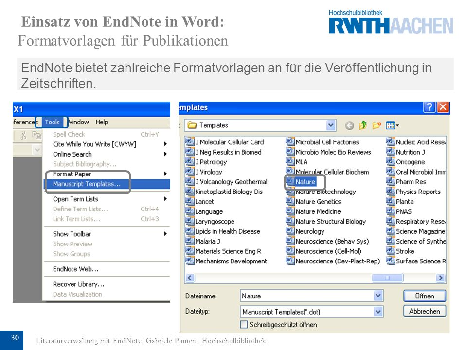 Einsatz von EndNote in Word: Formatvorlagen für Publikationen