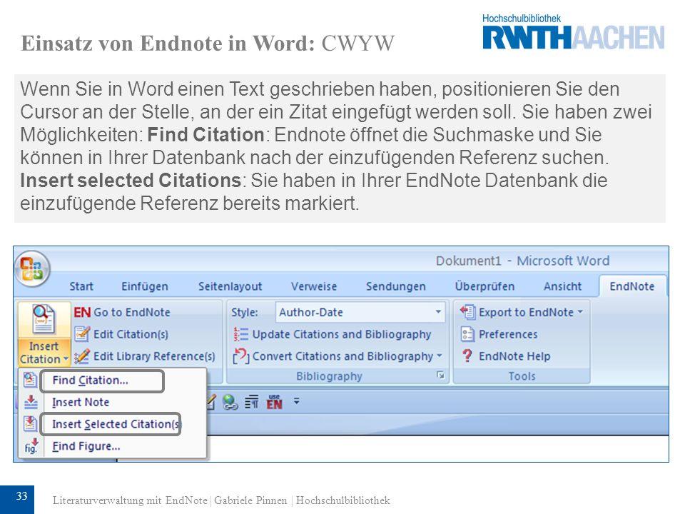 Einsatz von Endnote in Word: CWYW
