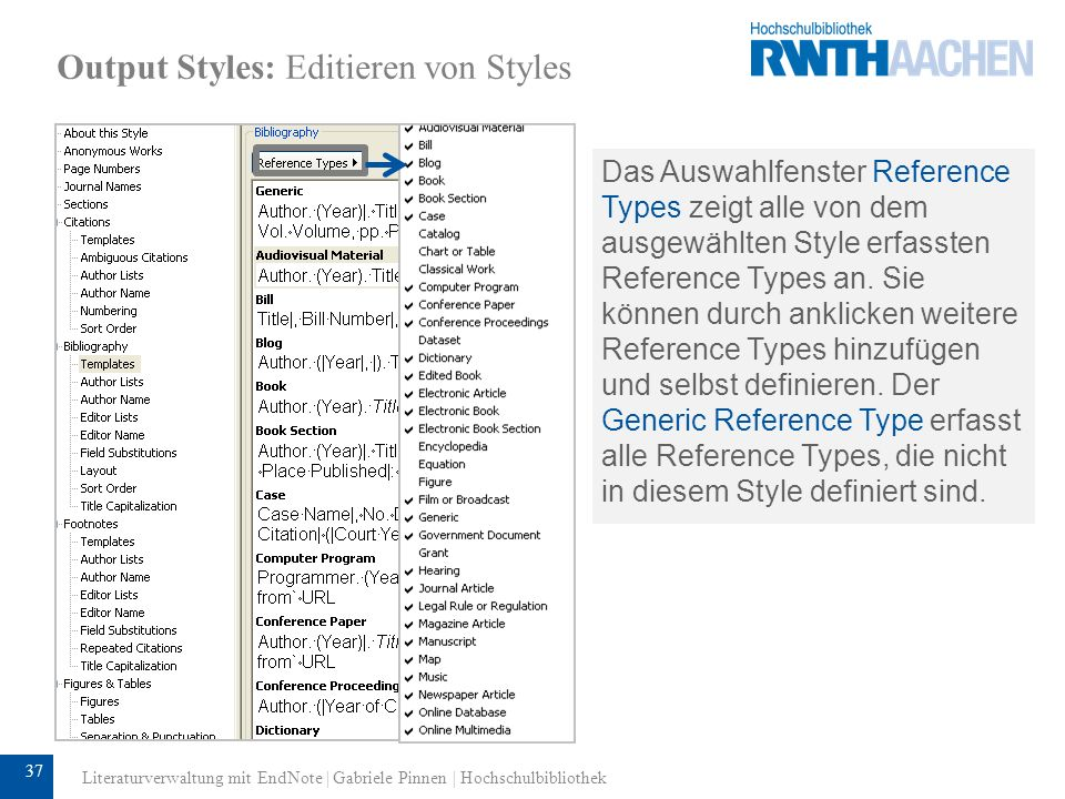 Output Styles: Editieren von Styles