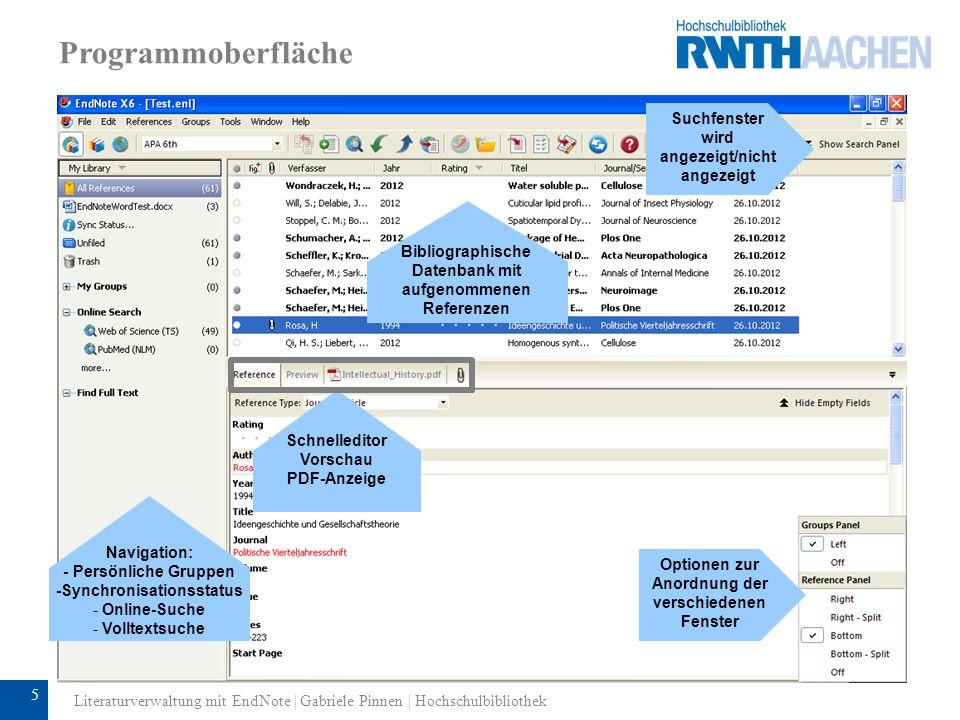 Programmoberfläche Suchfenster wird angezeigt/nicht angezeigt