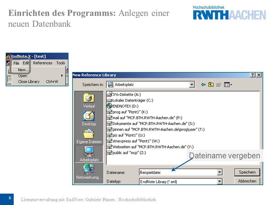 Einrichten des Programms: Anlegen einer neuen Datenbank