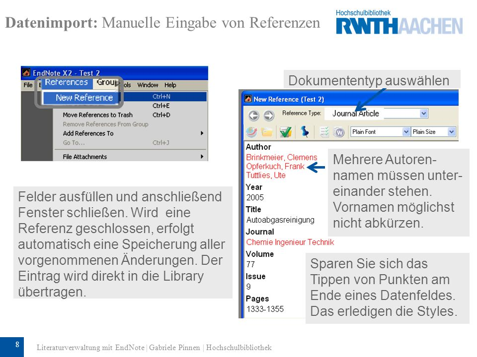 Datenimport: Manuelle Eingabe von Referenzen