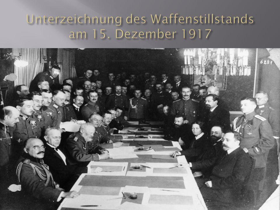 Unterzeichnung des Waffenstillstands am 15. Dezember 1917
