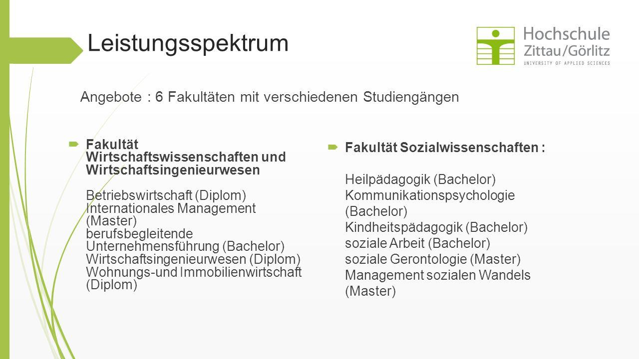 Leistungsspektrum Angebote : 6 Fakultäten mit verschiedenen Studiengängen.