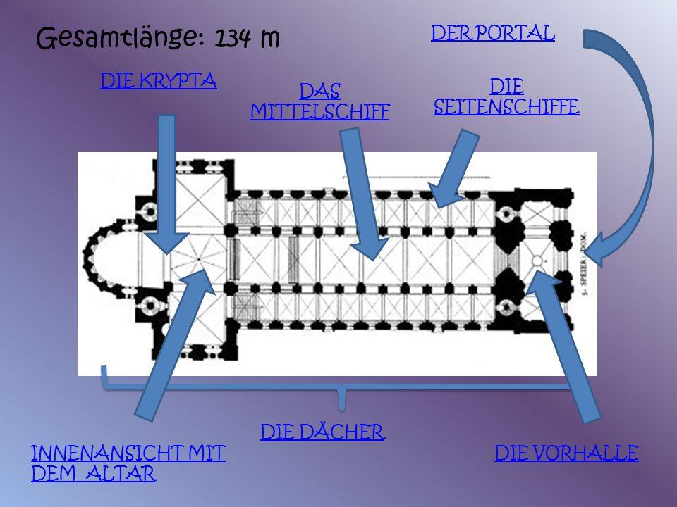 Gesamtlänge: 134 m DER PORTAL DIE KRYPTA DIE SEITENSCHIFFE
