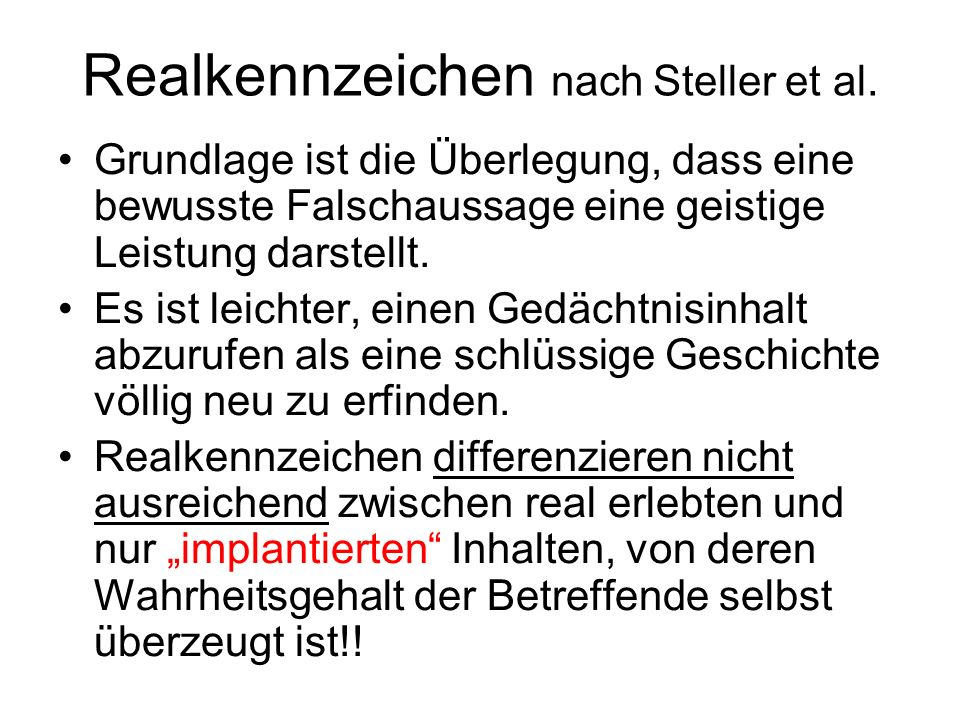 Realkennzeichen nach Steller et al.