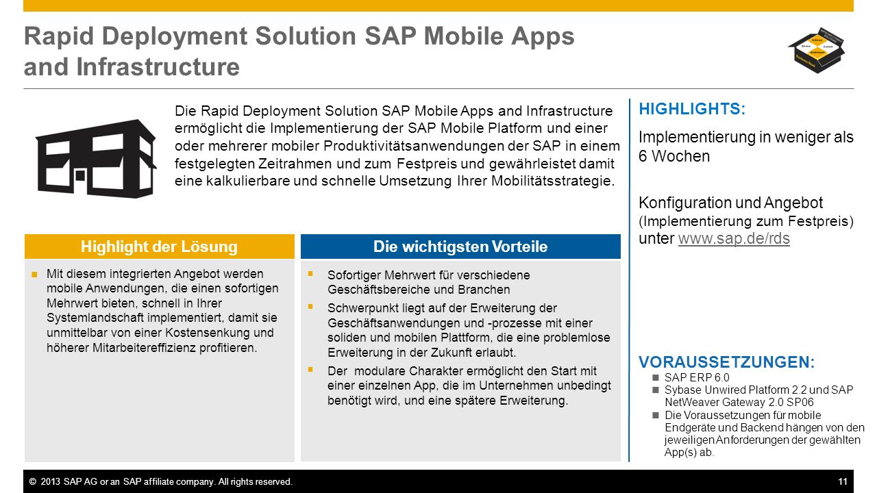 Rapid Deployment Solution SAP Mobile Apps and Infrastructure