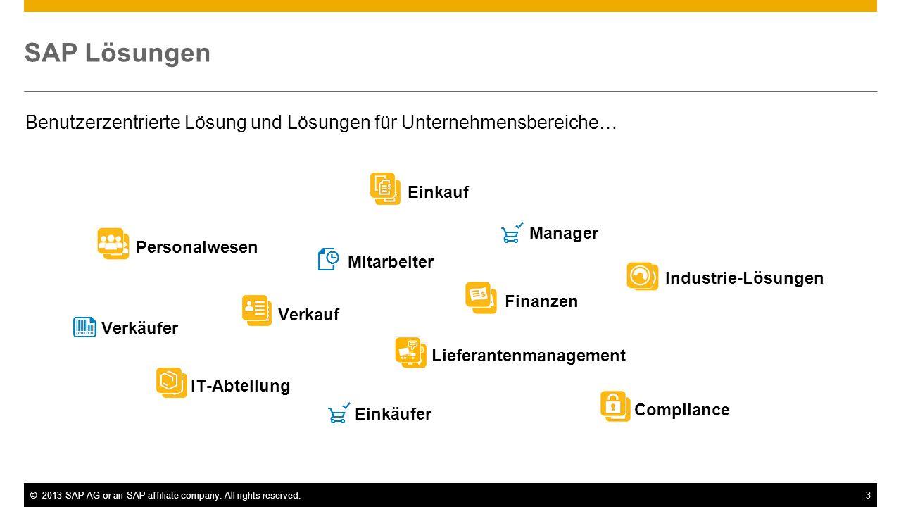 SAP Lösungen Benutzerzentrierte Lösung und Lösungen für Unternehmensbereiche… Einkauf. Manager. Personalwesen.