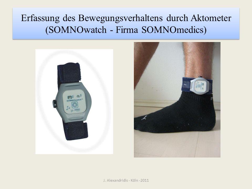 Erfassung des Bewegungsverhaltens durch Aktometer (SOMNOwatch - Firma SOMNOmedics)