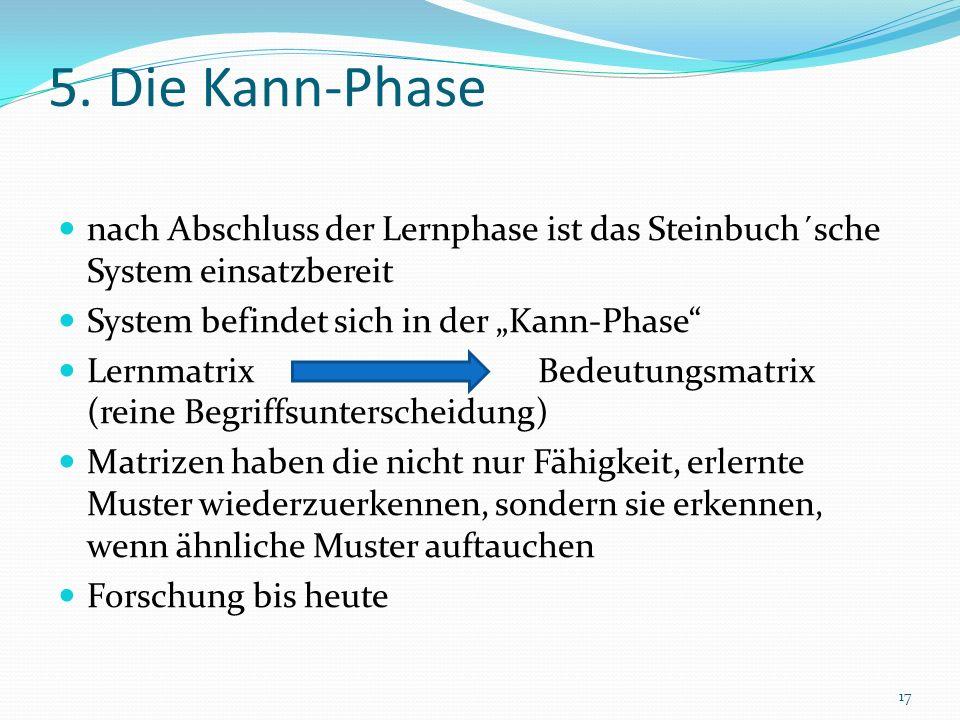 """5. Die Kann-Phase nach Abschluss der Lernphase ist das Steinbuch´sche System einsatzbereit. System befindet sich in der """"Kann-Phase"""