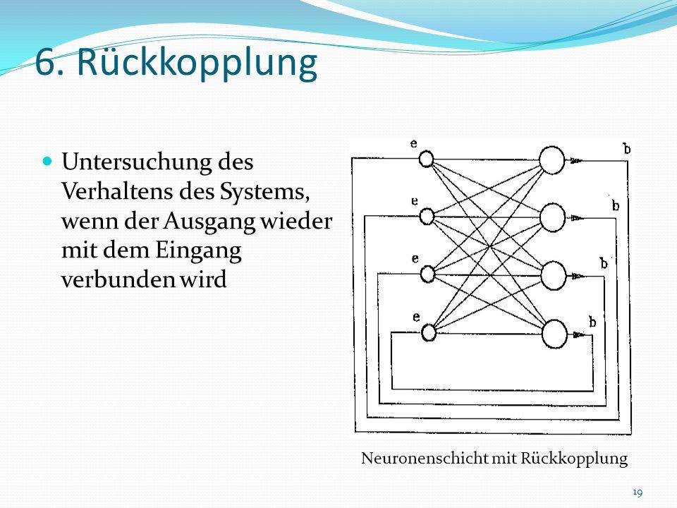 6. Rückkopplung Untersuchung des Verhaltens des Systems, wenn der Ausgang wieder mit dem Eingang verbunden wird.