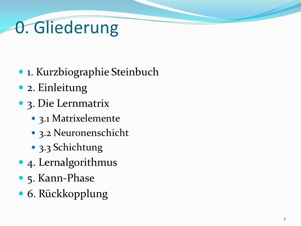 0. Gliederung 1. Kurzbiographie Steinbuch 2. Einleitung