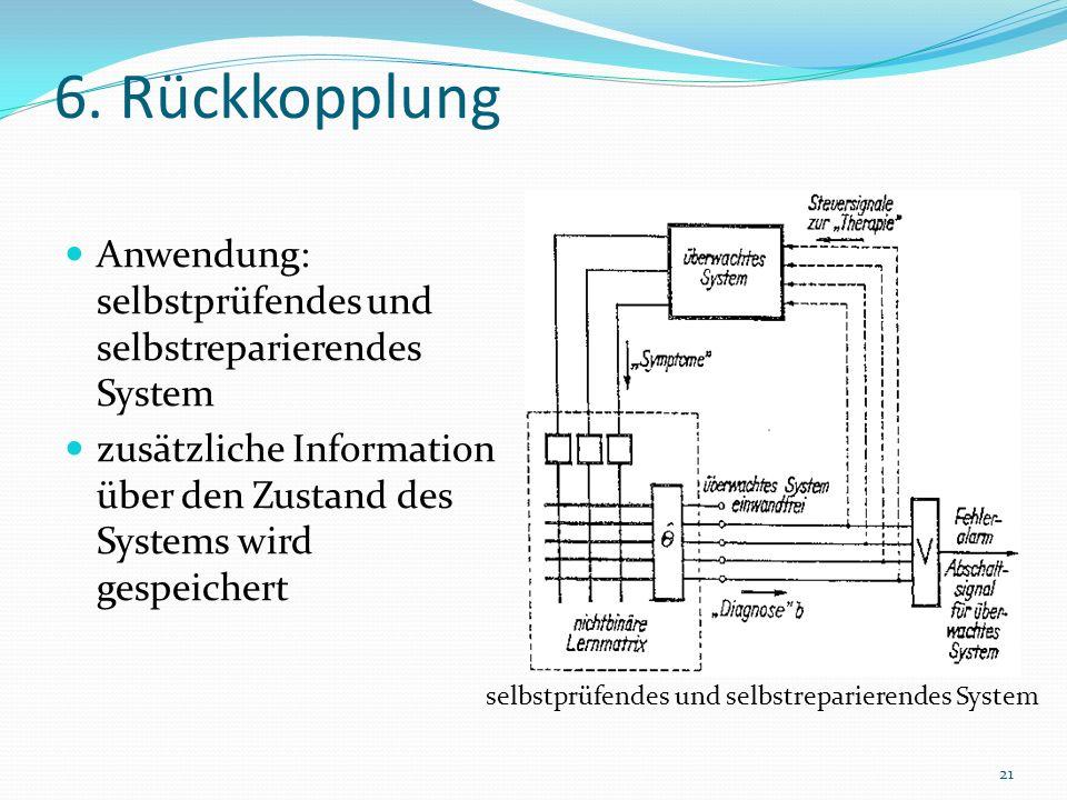6. Rückkopplung Anwendung: selbstprüfendes und selbstreparierendes System. zusätzliche Information über den Zustand des Systems wird gespeichert.