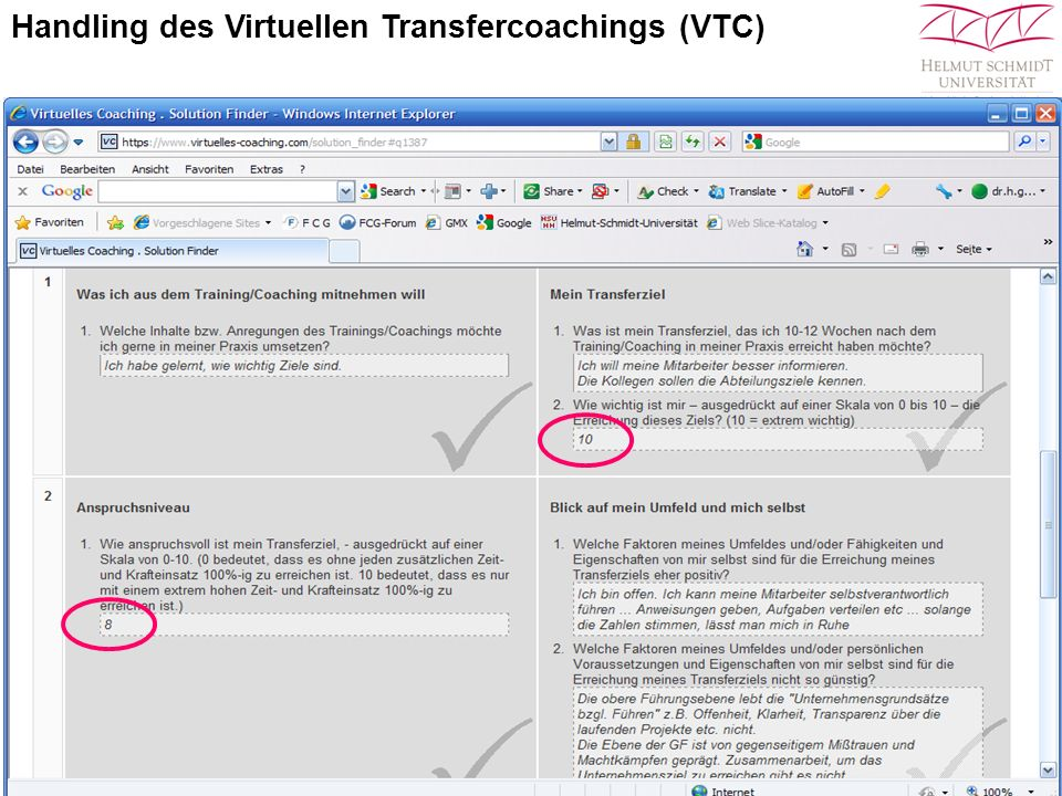 Handling des Virtuellen Transfercoachings (VTC)