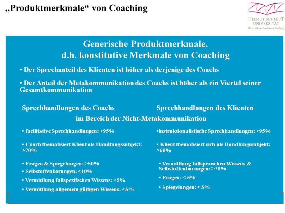 Generische Produktmerkmale, d.h. konstitutive Merkmale von Coaching