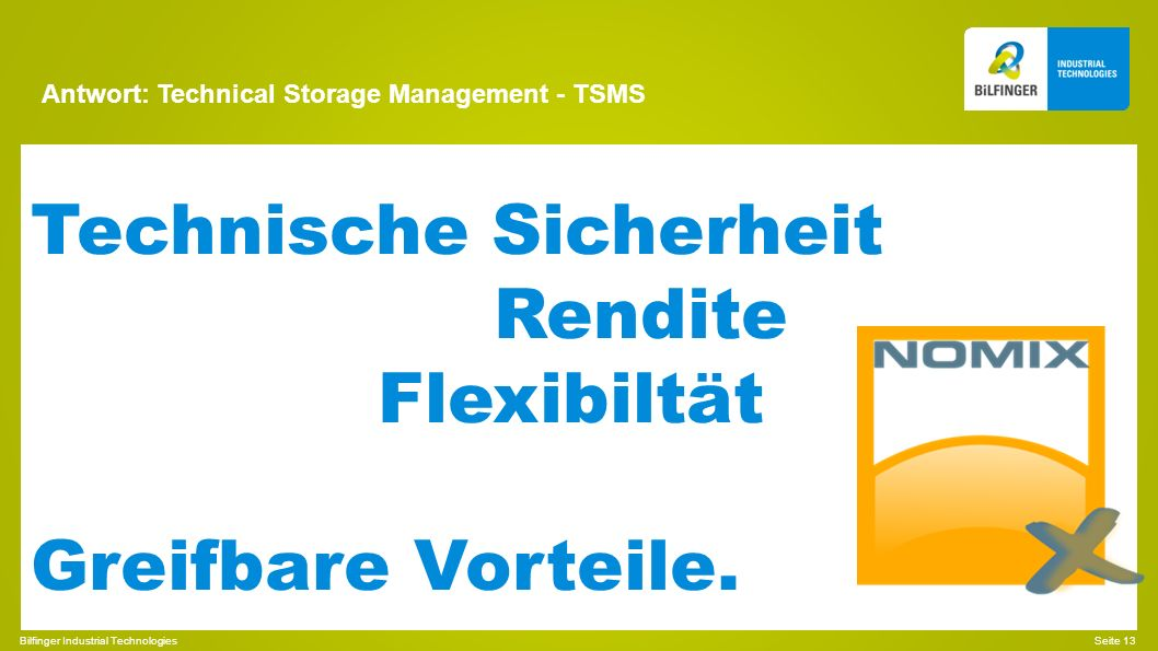 Antwort: Technical Storage Management - TSMS