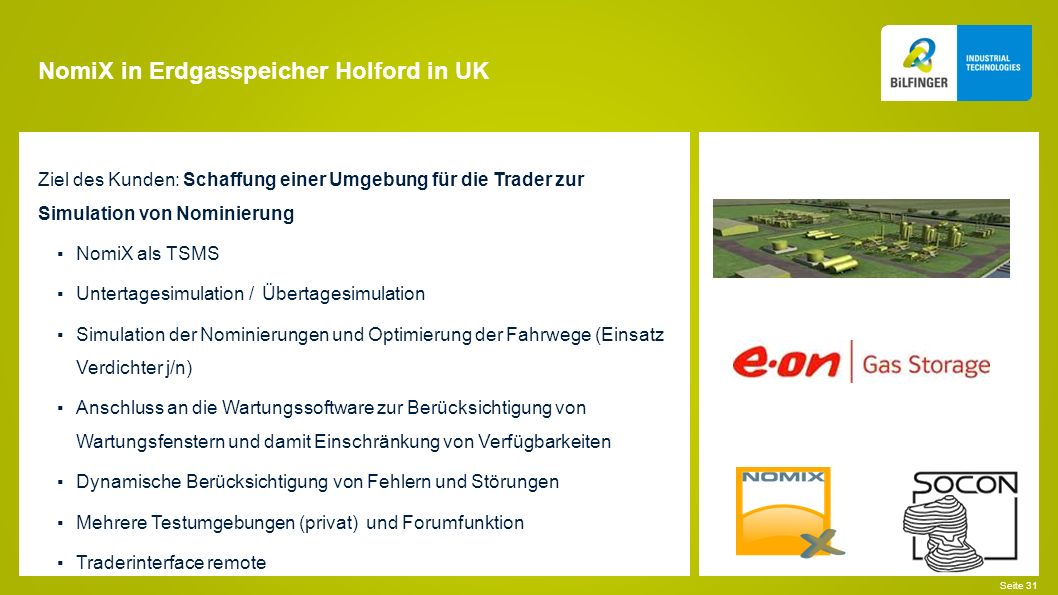 NomiX in Erdgasspeicher Holford in UK