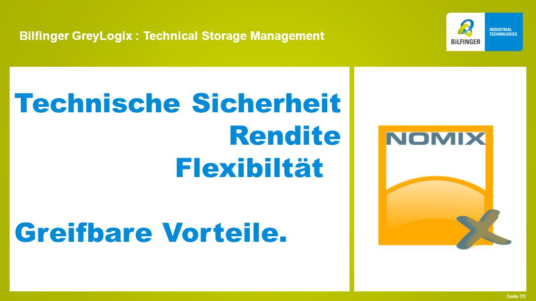 Bilfinger GreyLogix : Technical Storage Management