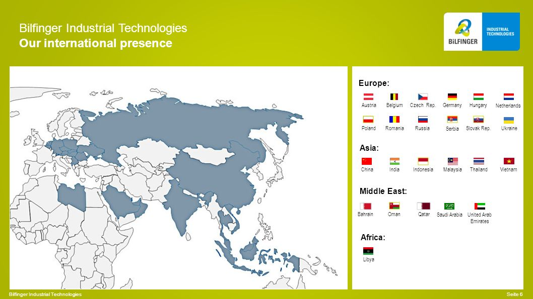 Bilfinger Industrial Technologies Our international presence