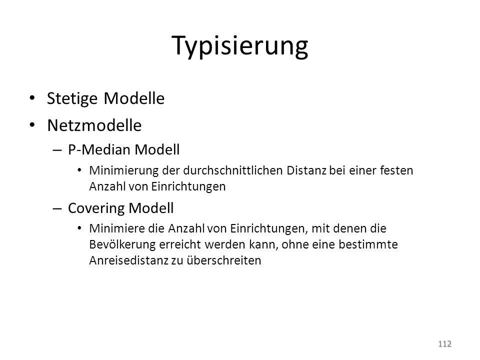 Typisierung Stetige Modelle Netzmodelle P-Median Modell