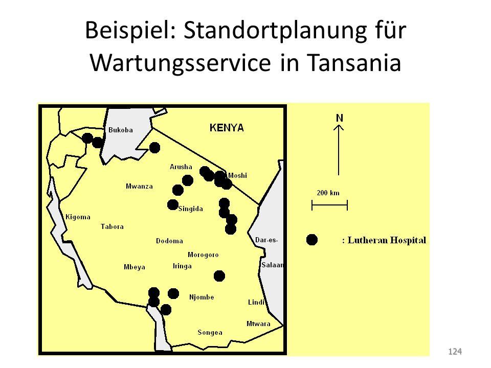 Beispiel: Standortplanung für Wartungsservice in Tansania