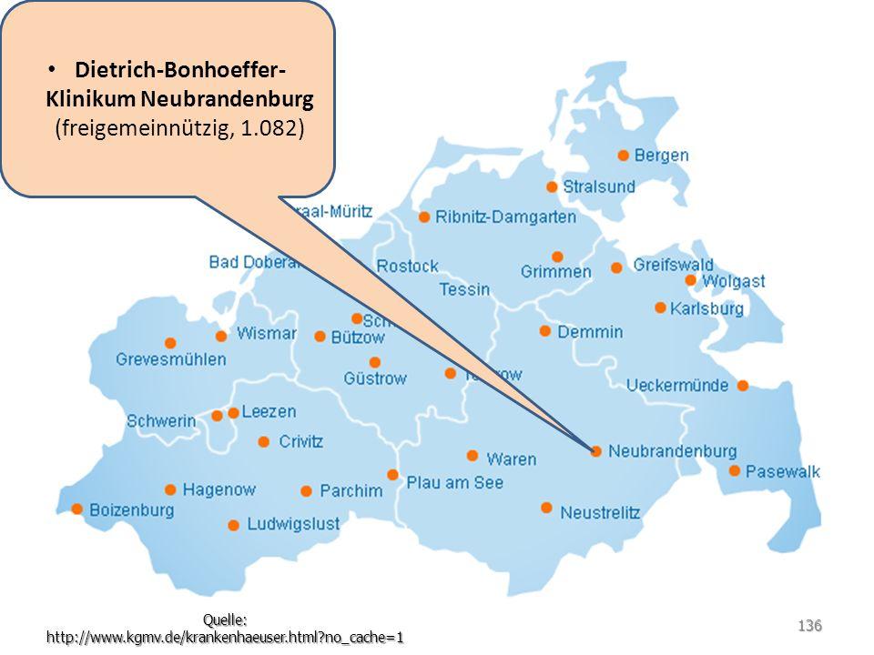 Dietrich-Bonhoeffer-Klinikum Neubrandenburg (freigemeinnützig, 1.082)