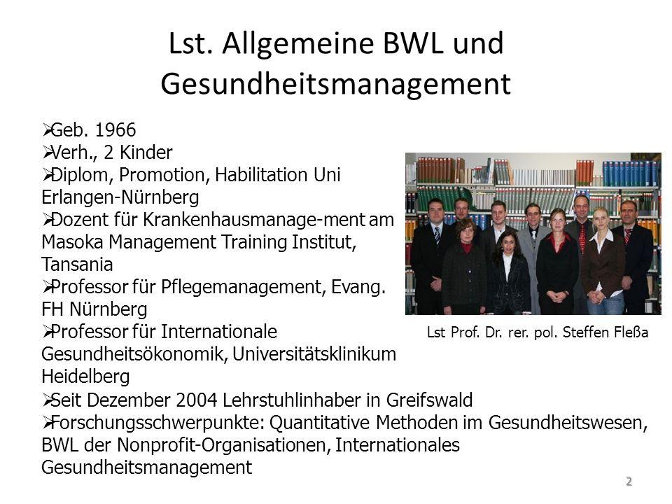 Lst. Allgemeine BWL und Gesundheitsmanagement