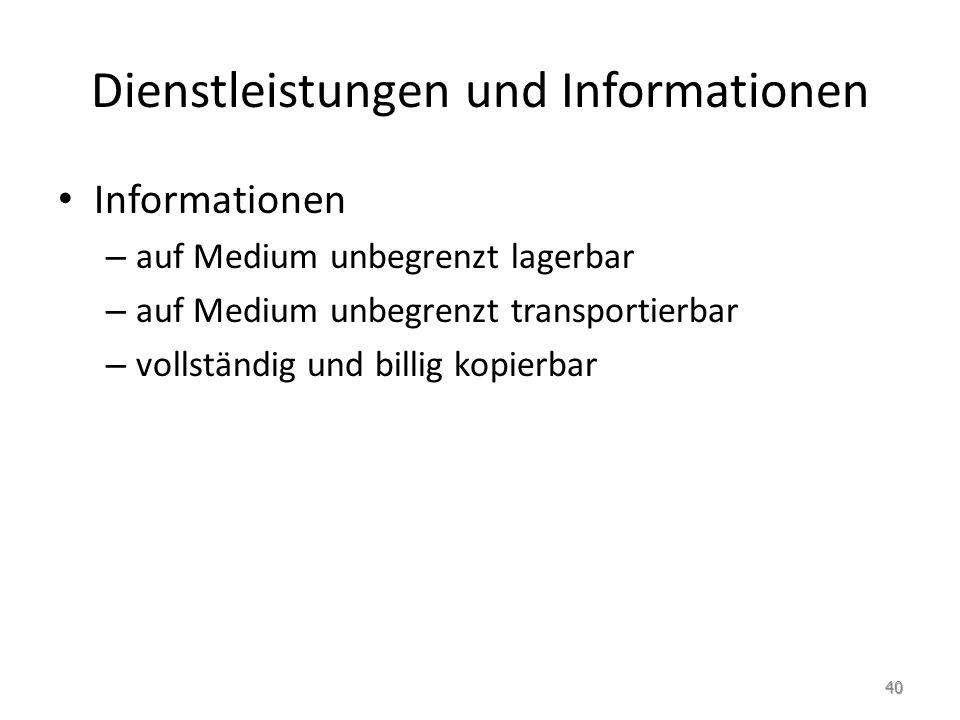 Dienstleistungen und Informationen