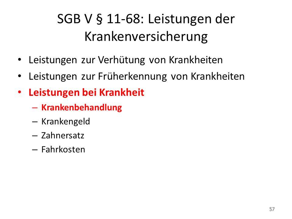 SGB V § 11-68: Leistungen der Krankenversicherung
