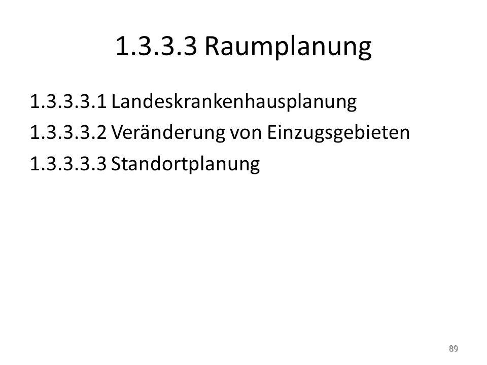 1.3.3.3 Raumplanung 1.3.3.3.1 Landeskrankenhausplanung 1.3.3.3.2 Veränderung von Einzugsgebieten 1.3.3.3.3 Standortplanung