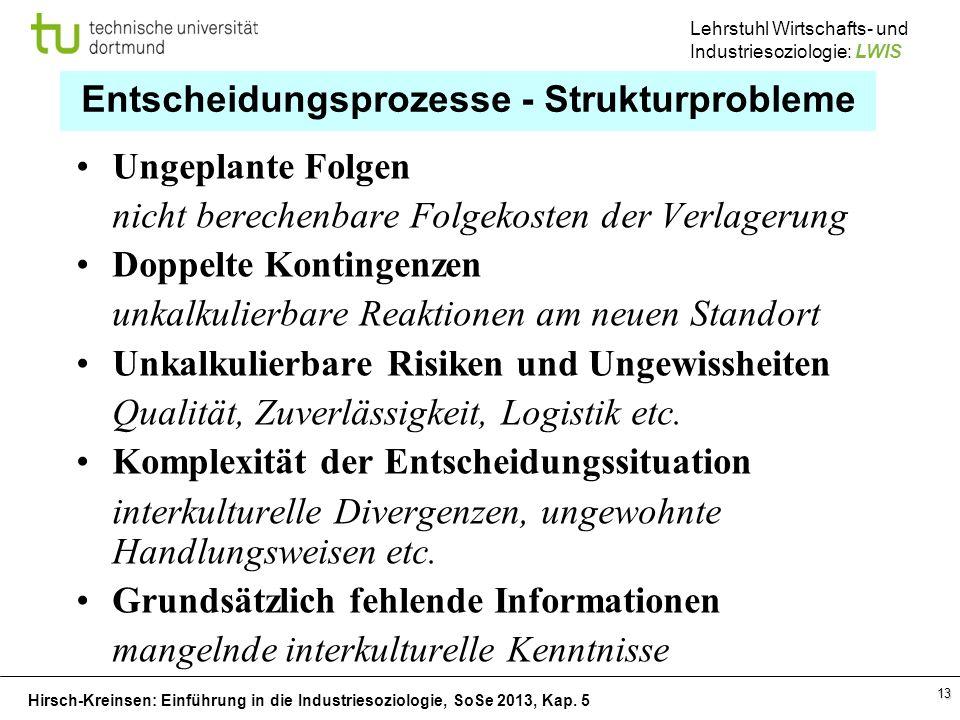 Entscheidungsprozesse - Strukturprobleme