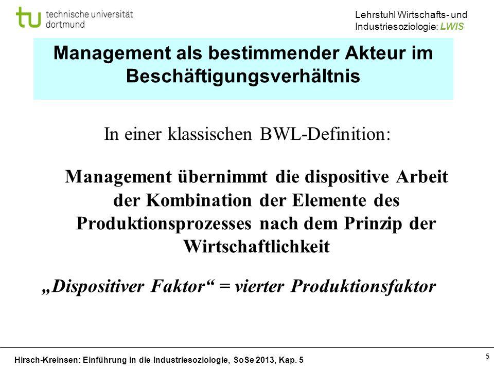 Management als bestimmender Akteur im Beschäftigungsverhältnis