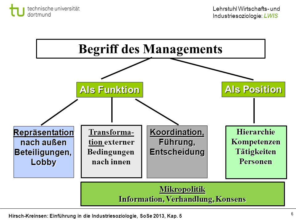 Begriff des Managements Information, Verhandlung, Konsens