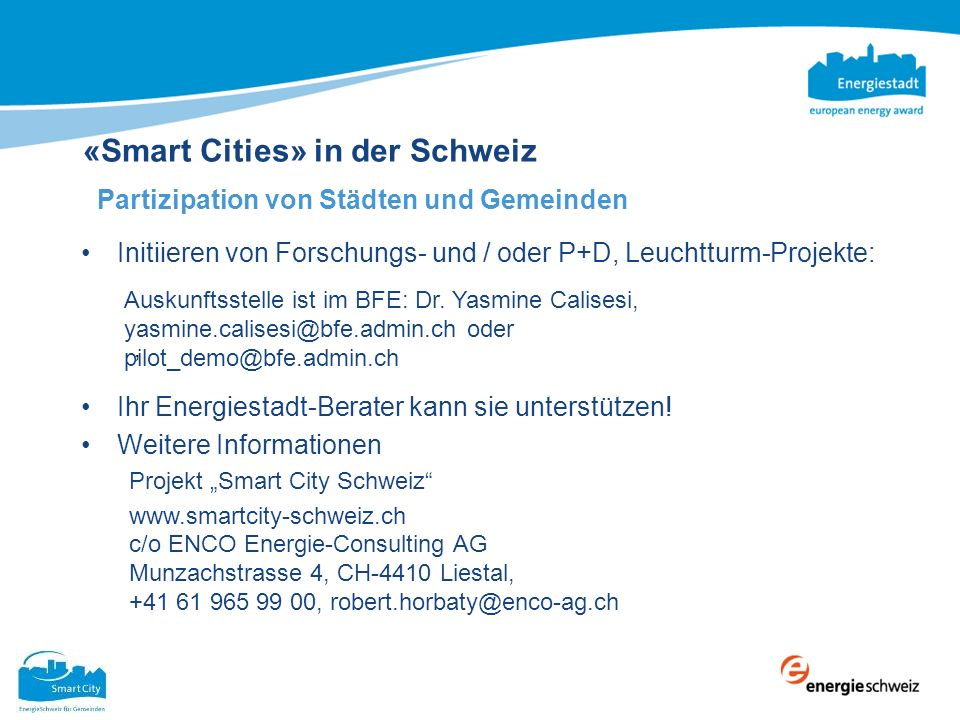 «Smart Cities» in der Schweiz