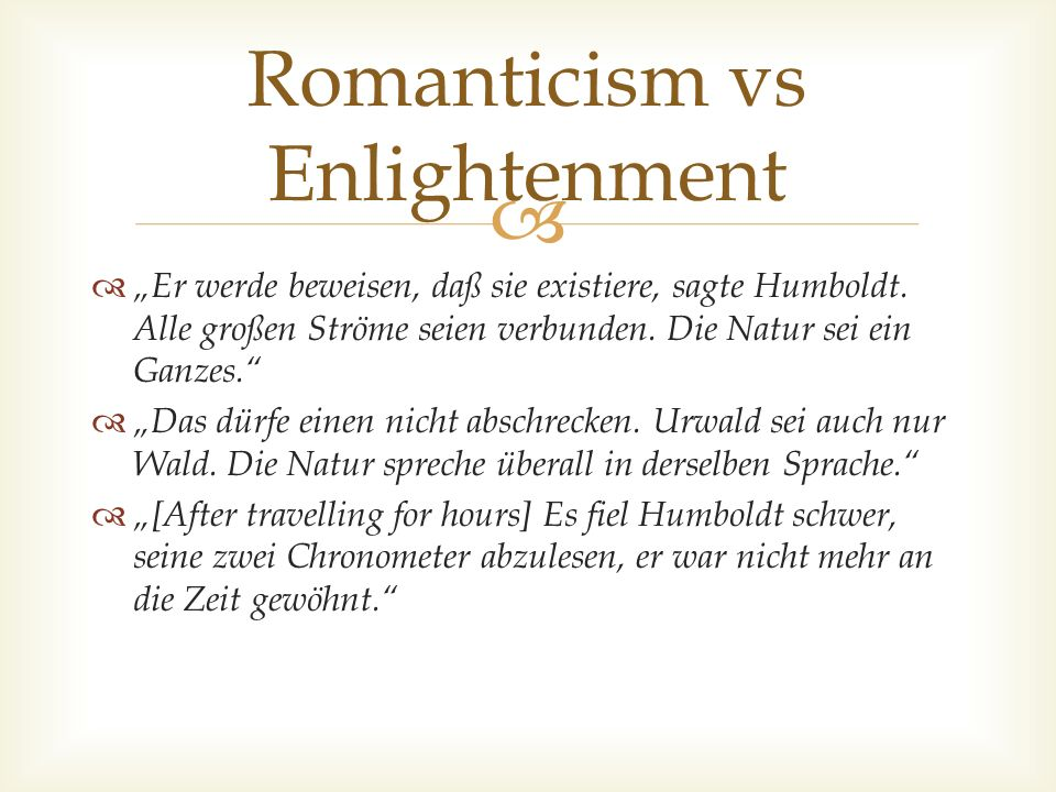 Romanticism vs Enlightenment