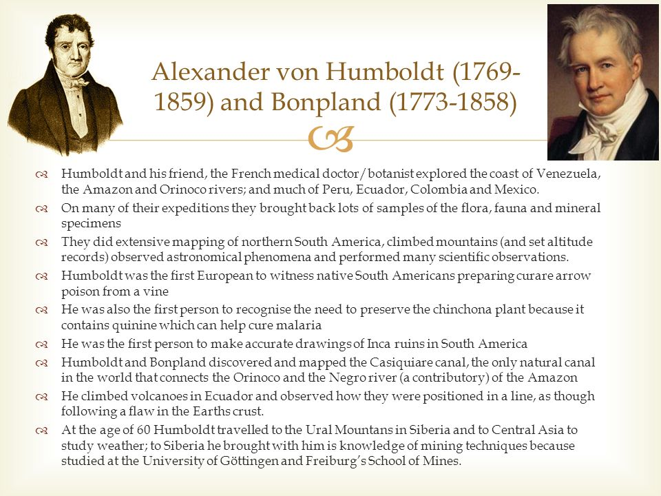 an analysis of the alexander von humboldts expedition to latin america German naturalist alexander von humboldt lived to see the new direction taken   five-year expedition (1799–1804) to the americas that humboldt undertook  with  escaped the epidemic: they would begin their explorations in south  america  4 of humboldt's political essay on the kingdom of new spain, trans  from the.