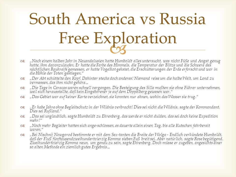 South America vs Russia Free Exploration