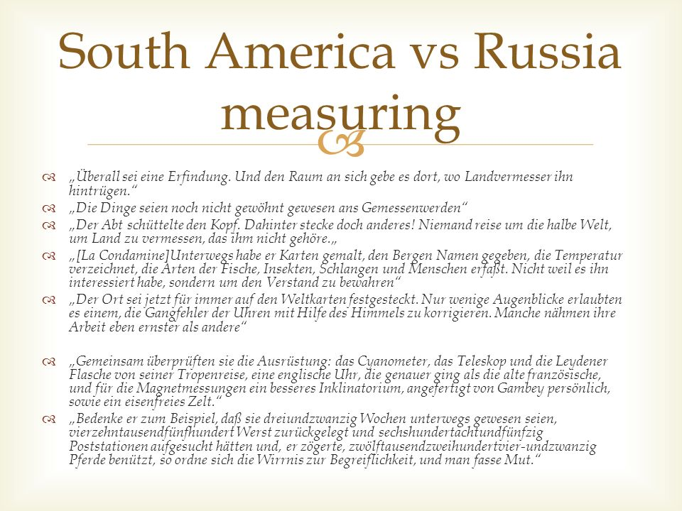 South America vs Russia measuring