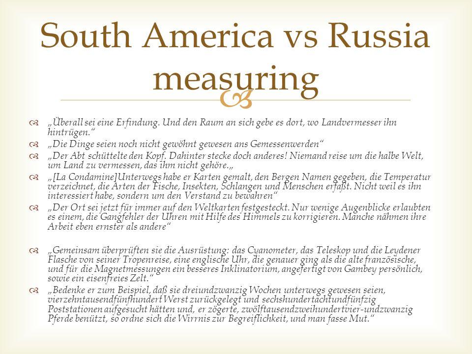 South America vs Russia measuring