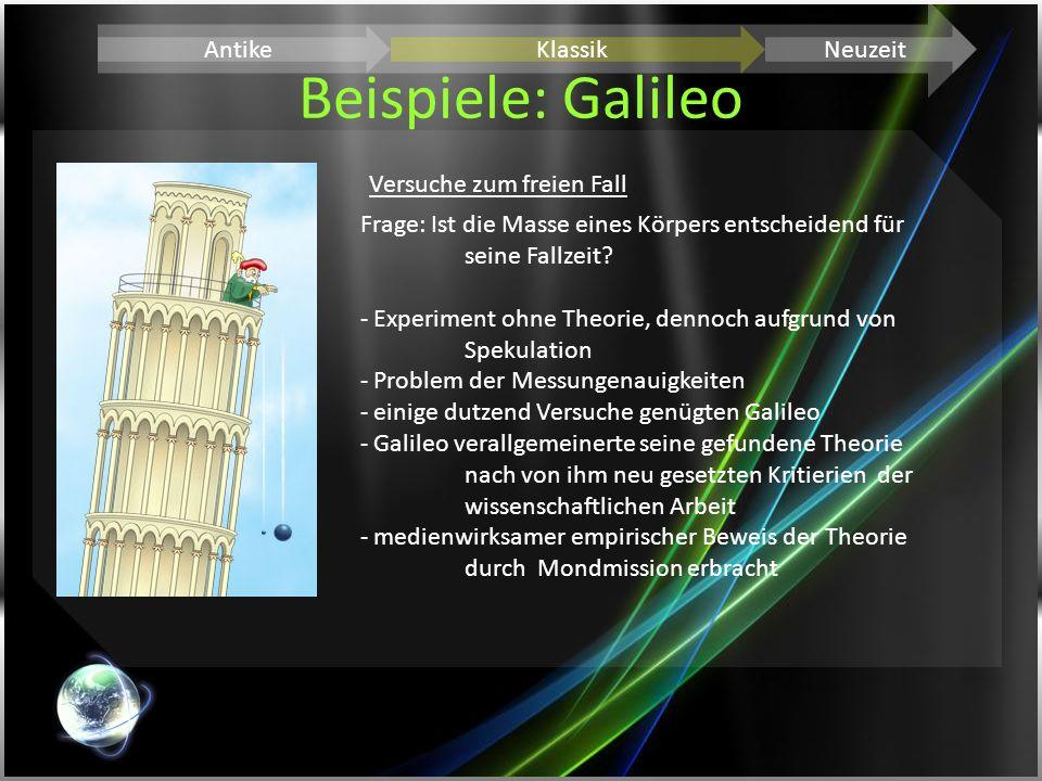 Beispiele: Galileo Antike Klassik Neuzeit Versuche zum freien Fall