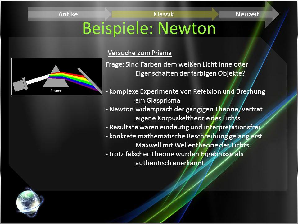 Beispiele: Newton Antike Klassik Neuzeit Versuche zum Prisma