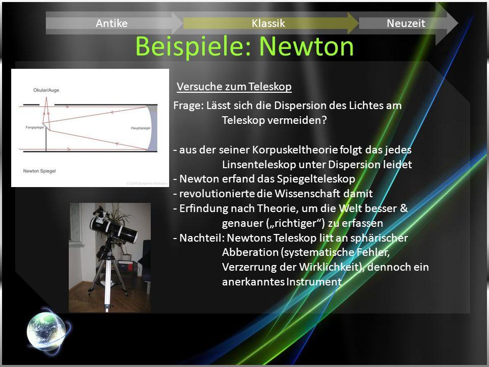 Beispiele: Newton Antike Klassik Neuzeit Versuche zum Teleskop